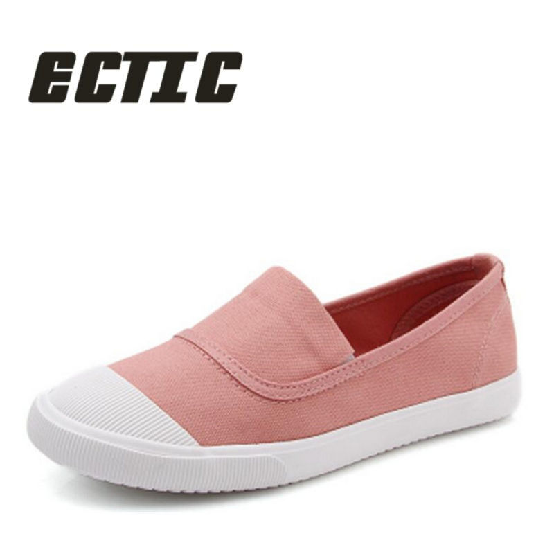 ECTIC 2018 young women casual shoes Breathable sneaker shoes fashion slip on canvas shoes comfortable flat shoes girl QQ-007 2017 new spring imported leather men s shoes white eather shoes breathable sneaker fashion men casual shoes