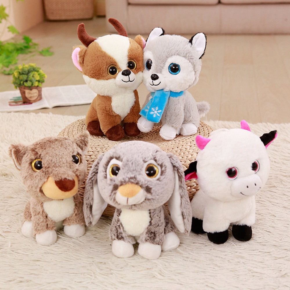 1pc 23cm Kawaii Big Eyes Animal Plush Toys Cute Staffed Husky Sheep Rabbit Dolls for Kids Lovely Toys Birthday Gifts Home Decor
