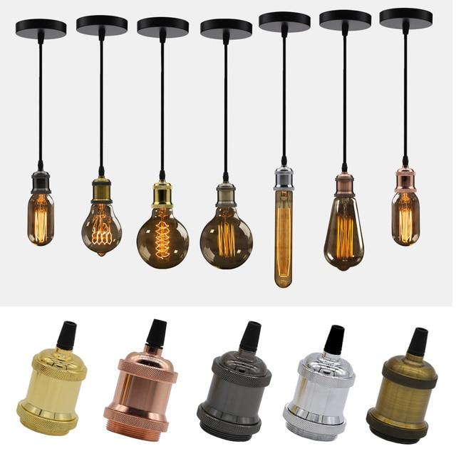 Modern Aluminum Pendant Lights E27 Lamp Holder 110V 220V LED Lights Incandescent Vintage Retro Edison Bulb Decor Hanging Lamp 2