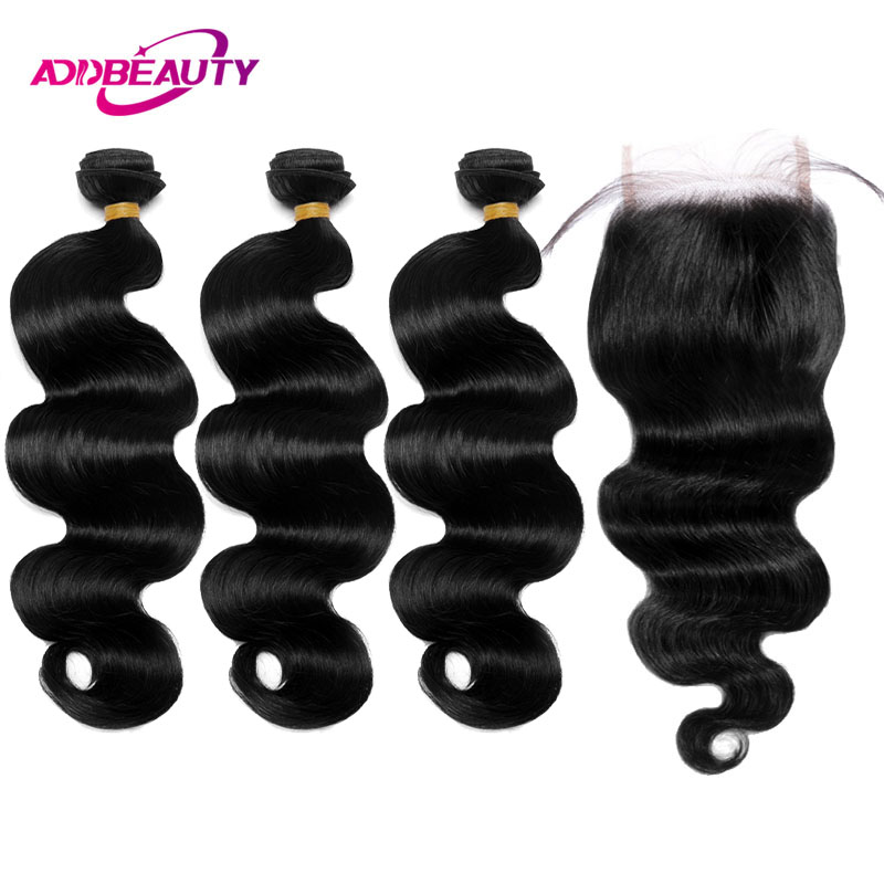 Addbeauty перуанский Для тела волна с Синтетические волосы на кружеве 4*4 Бесплатная часть 100% Человеческие волосы ткань 3 пучки натуральный черны...
