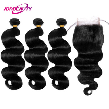 3 Bundles With Closure Straight Virgin Indian Human Hair Free Part AddBeauty Natural Color Double Weft 130 Density Baby hair