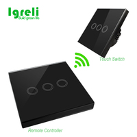 EU Standard Crystal Glass Panel Wall Touch Switch 220 250V And Switch Shape Wireless Remote Control