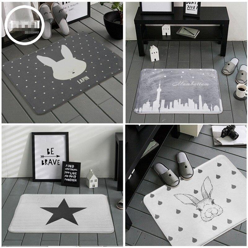 Nordic Rabbit/stars Grey White Bathroom Rug Bathroom Mat Door Bedroom  Non Slip Machine