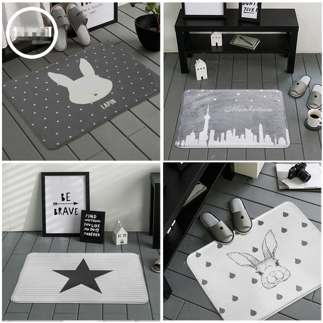 nordique lapintoiles gris blanc salle de bains tapis tapis de bain porte chambre non - Tapis Gris Et Blanc