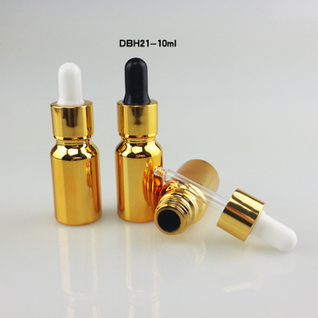 100pcs luxury goldenglass 10ml small dropper bottles for essential oil, small glass bottle with dropper ,mini glass container