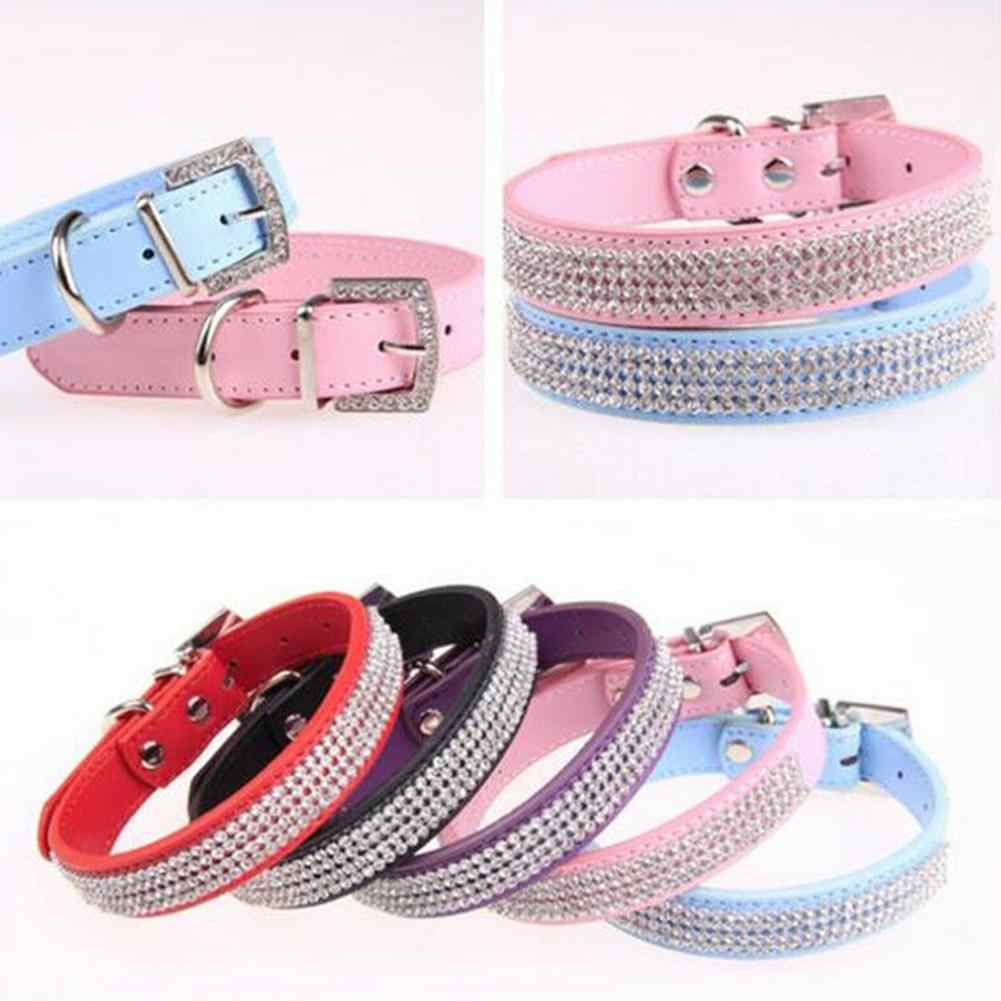Bling Rhinestone Dog Collars Faux Leather Pet Dog Puppy Cat Neck Strap Band Dog Collar Necklace Free Pet Harnesses Supplies