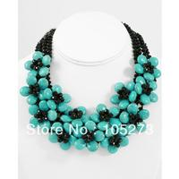 Charming Gem Stone Jewelry Blue Turquoises Crystals Flower Necklace 18'' Destination Wedding Celebrity Inspired Stone Jewellery
