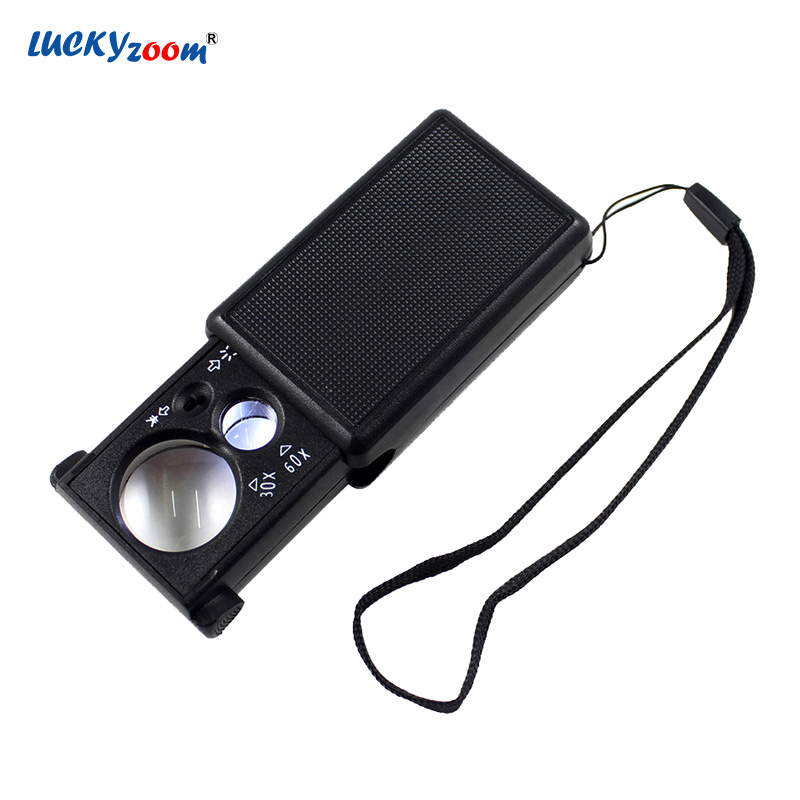 Luckyzoom Mini Pocket Magnifier Glass With LED Illuminated Magnifier 30X 60X Currency Detecting Lupa Portable Jewelry Loupe Luckyzoom Mini Pocket Magnifier Glass With LED Illuminated Magnifier 30X 60X Currency Detecting Lupa Portable Jewelry Loupe