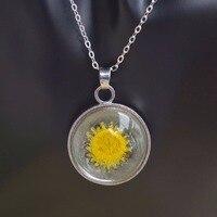Sunflower Helianthus Real Flower Luminous Glow In The Dark Floating Locket Copper Chain Statement Choker Necklace