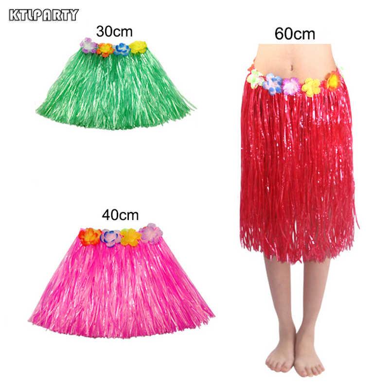 2005e828f6ee 30/40/60cm Plastic Fibers girls Woman Hawaiian Hula Skirt Hula Grass  costume Flower