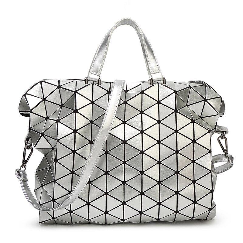 Geometric Design Fashion Bao Bao Handbag Foldable Plaid Women Shoulder Bag Quilted Folded Casual Large Shopping Bag For Women