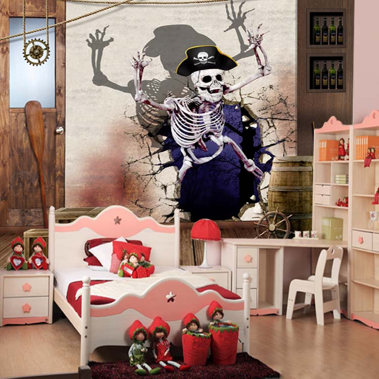 Skull Skeleton Mural 3d Wall Murals Vinyl Wallpaper for Bar Living Room 3d Wall Photo Mural 3d Cartoon Murals airsoft adults cs field game skeleton warrior skull paintball mask