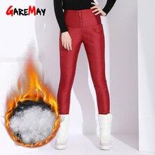 Garemay теплые брюки с высокой талией черные обтягивающие повседневные для женщин зимние брюки уличная одежда классические женские брюки осень