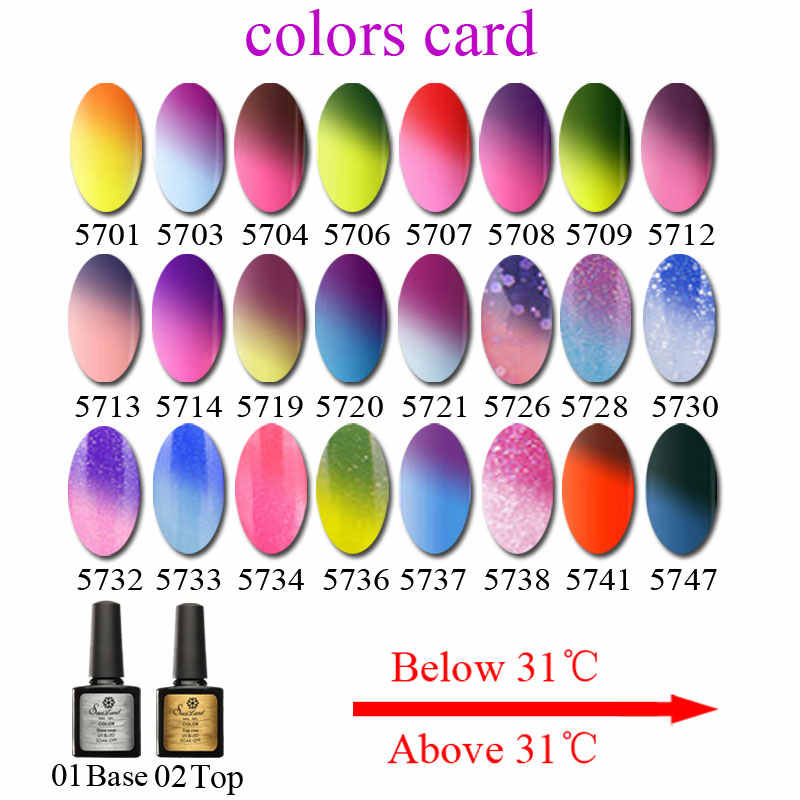 טמפרטורת מכירה חמה Saviland שינוי הצבע ג 'ל משרים כבוי UV ג' ל לכה Thermo גליטר לכה מדבקה לציפורניים