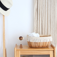 Ship Type Tassels Accept Basket Wood Weave Handle Frame Residential Soft Clothes Prop Towel Accept Basket Back Mujia