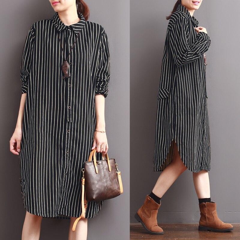 2017 femme nouveau printemps rayure verticale à manches longues chemise robe moyen-long placketing turn-down col lâche chemise