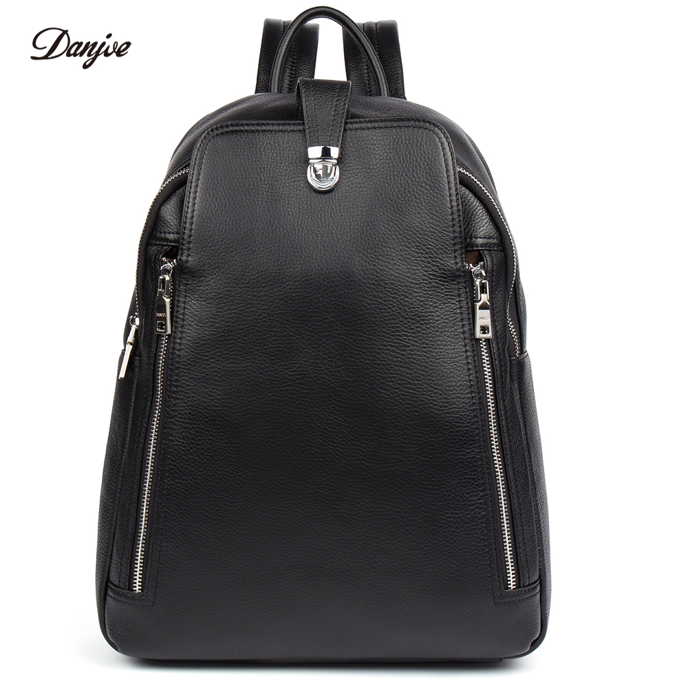 DANJUE Genuine Leather Men Backpack Male Shoulder Bag Large Capacity Travel Bags For Man Trendy Business Laptop Bag School Bag male bag vintage cow leather school bags for teenagers travel laptop bag casual shoulder bags men backpacksreal leather backpack