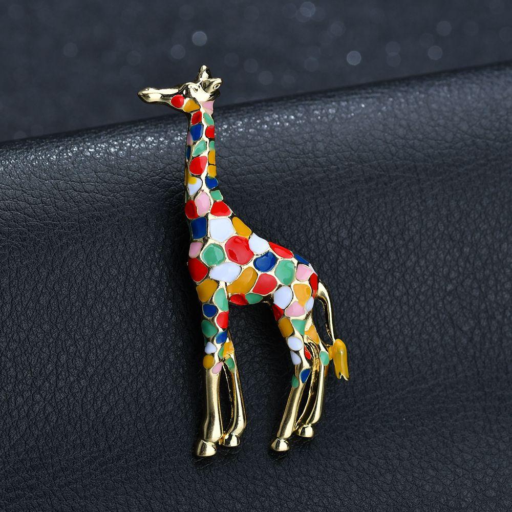 Terreau Кэти эмаль Жираф броши для женщин милые брошь булавка в виде животного Модные Украшения Золото Цвет изысканный подарок детей