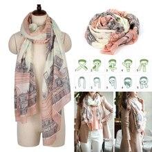 Autumn/winter fashion women silk scarf chiffon shawls geometric print thin long polyester scarves foulard