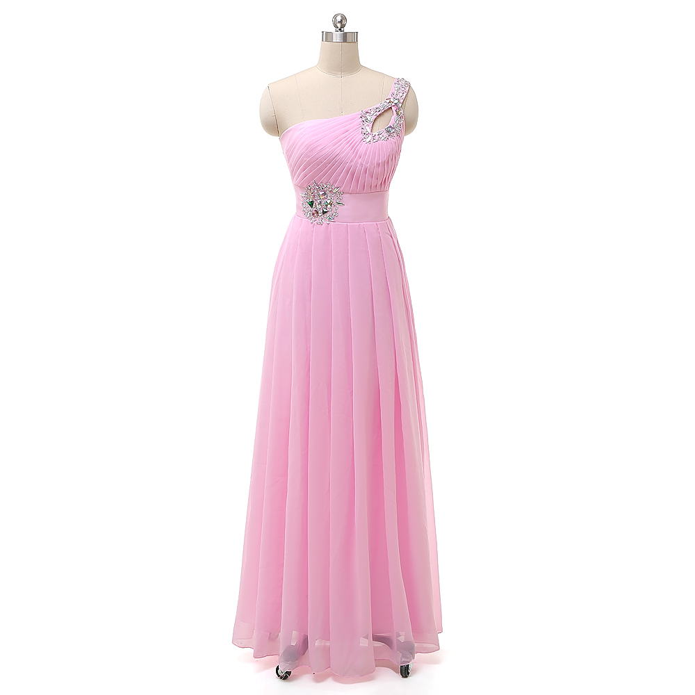 Pink   Bridesmaid     Dress   New Arrival One Shoulder Long Chiffon Wedding Party Gown Plus Size Custom Made Long Wedding Party   Dresses