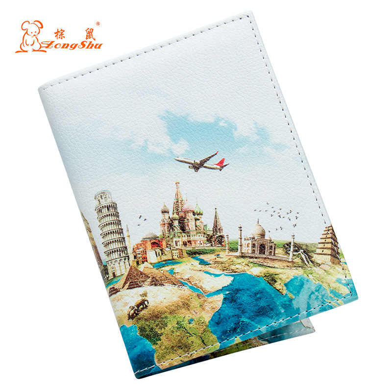 World map Color mixing buckle unisex passport cover with traveling Built in RFID Blocking Protect personal information