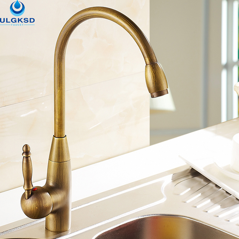 ulgksd antique brass kitchen faucet 360 rotation kitchen sink deck mounted single handle faucet hot and. Interior Design Ideas. Home Design Ideas