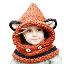 026a16cd83e 2017 Korean Winter Warm Neck Wrap Fox Scarf Caps Cute Children Wool Knitted  Hats Baby Girls Shawls Hooded Cowl Beanie Caps