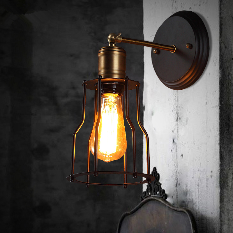 Loft American Vintage Wall Lamps Bedroom Bedside Lamp