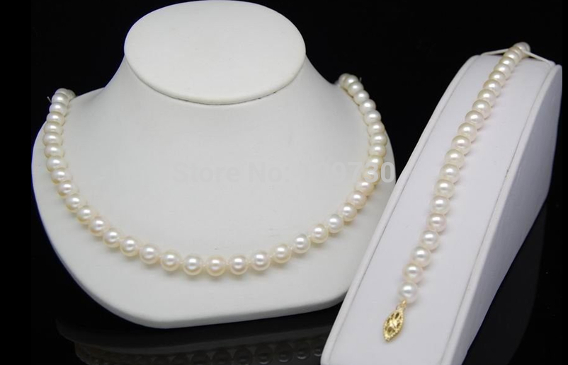 Jewelry 00691 Noblest 6-7mm AAA+top white pearl jewelry set contrast lace applique t shirt
