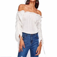 2017 New Shirt White Word Collar Strapless Was Thin Leaf Side Banded Casual Women S Jacket