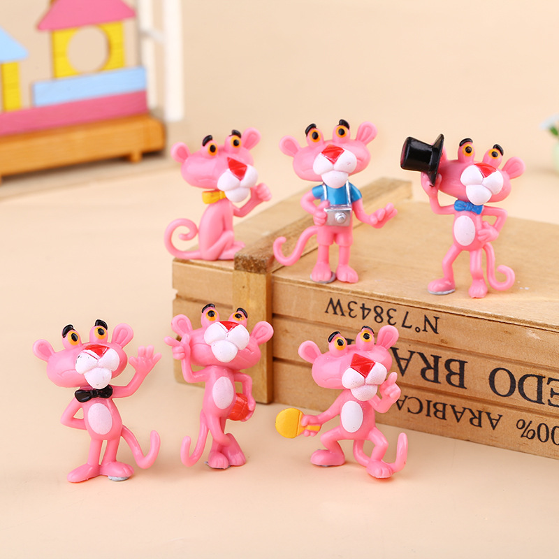 6pcs/set Lovely Pink Panther action figure toys cute cartoon 4.5cm mini PVC animals model collection kids gift toys starz appaloosa horse model pvc action figures animals world collection toys gift for kids