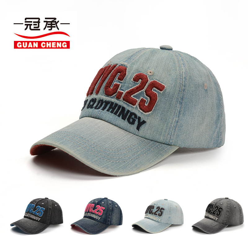 2018 new Simple pure cotton letter nyc embroidered baseball cap men and women wash old denim cotton cloth vintage pure duck cap