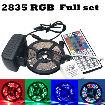 5m 10m 3528 led strip rgb non waterproof 5m roll 60leds m smd led stripe light dc12v power adapter music remote controller ECLH RGB LED Strip Light 2835 SMD 5M 60Leds/m Flexible Light Ribbon IR 44 Keys Remote Controller 12V 2A Power Adapter LED Tape