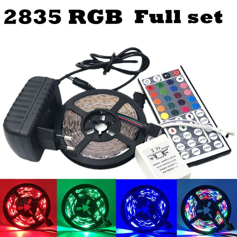 ECLH RGB LED Strip Light 2835 SMD 5M 60Leds/m Flexible Light Ribbon IR 44 Keys Remote Controller 12V 2A Power Adapter LED Tape