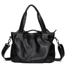 Factory direct fashion business casual Genuine Leather men handbags retro dumplings wear-resistant leather shoulder bag