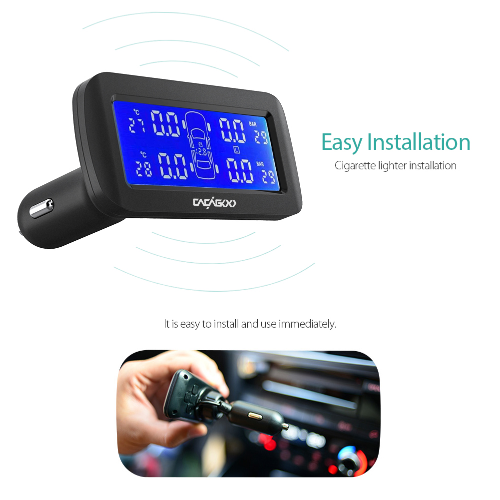CACAGOO Wireless Real-time TPMS Tire Pressure Monitoring System with LCD Display Alarm Function 4 External Sensors PSI BAR careud u903 wf tpms wireless tire pressure monitor with 4 external sensors