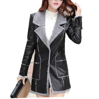 Осенне зимняя модная женская новая теплая куртка из искусственной кожи с флоком из овечьей шерсти, большой код