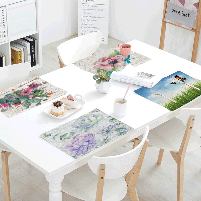 Wholesale Tablecloth Green Meadow Colorful Flower Butterfly Tea Coffee Table Decoration Mat Restaurant Kitchen Decorative Napkin
