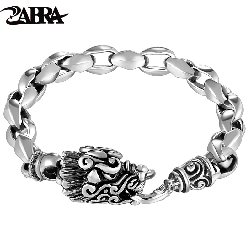 ZABRA Real Solid 925 Sterling Silver Bracelet Men 21cm Dragon High Polished Rock Thai Silver For Biker Vintage Punk Jewelry