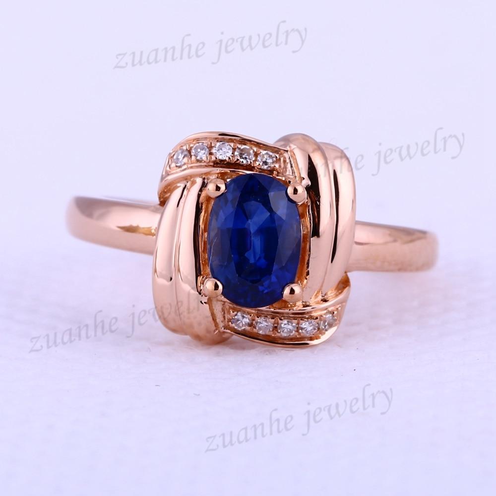 5x7mm Oval Natural Sapphire Genuine Diamonds Solid 18k Rose Gold Gemstone Wedding Ring Women Engagement Fine Jewelry