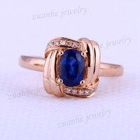 5x7mm Ovale Natuurlijke Sapphire Echt Diamonds Solid 18 k Rose Goud Edelsteen Trouwring Vrouwen Engagement Fine sieraden