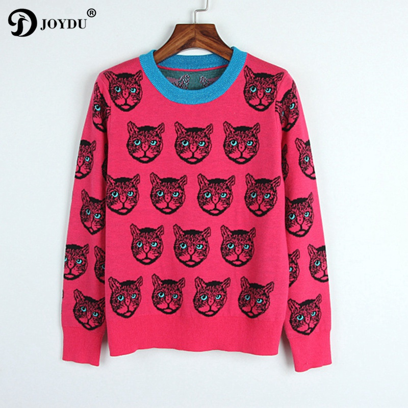 Runway Designer Sweater Women 2017 New Winter Jumper Cat Pattern Rose Color Casual Slim Knit Pullover pull sueter mujer
