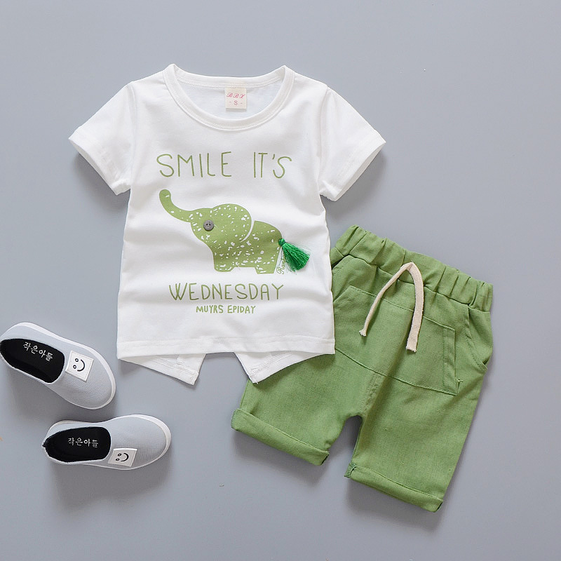 2018 Summer Baby Boy Girl Clothes Infant Clothing Elephant Short Sleeved T-shirts Bebes Kids Jogging SuitsTops Striped Pants