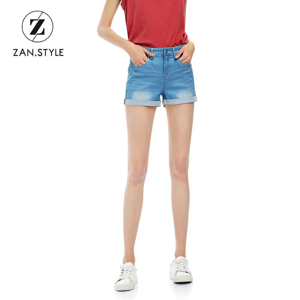 ZAN. styl kobiety Denim spodenki bawełniane wysoka talia Stretch kieszeń spodenki Slim damska Jeans Feminino lato wyblakłe niebieskie dżinsy krótkie