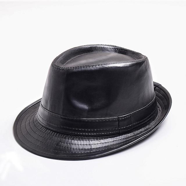 Ladychili diseño vintage negro marrón Faux cuero hombres Sombreros de fieltro  sombrero para hombres ala corta 81076ffd011
