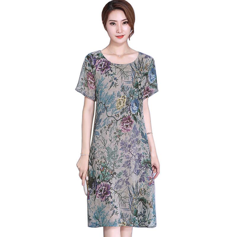 9dcb37fa001 2018 Для женщин Цветочный принт Винтаж Стиль платье плюс Размеры Sweet Lady  короткий рукав с круглым