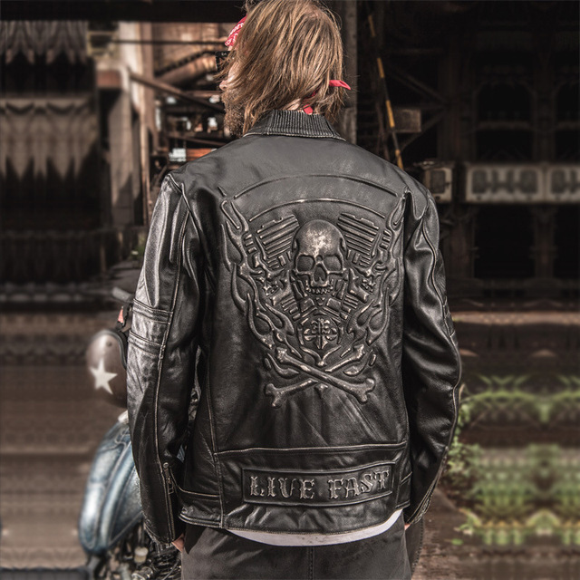 942aab2960e 2018 New Men Vintage Skulls Genuine Leather Motorcycle Jackets Black Stand  Collar Cowskin Slim Fit Men Winter Biker Coats