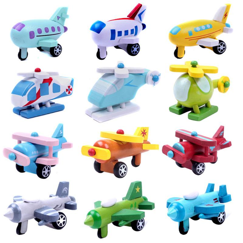 Kids Wooden Mini Airplane Toys Children Multi-pattern Cars Model Toy Kids Air Planes Birthday Gifts Baby Educational Toy Random image