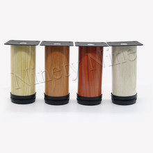 4Pcs Furniture Cabinet Metal Legs Adjustable Stainless Steel Kitchen Feet Round Wood grain 64x120mm + 16x Screw(China)