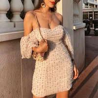Women elegant slim fit V neck mini dress polka dots short puff sleeve back zipper female 2019 casual stylish sheath dresses